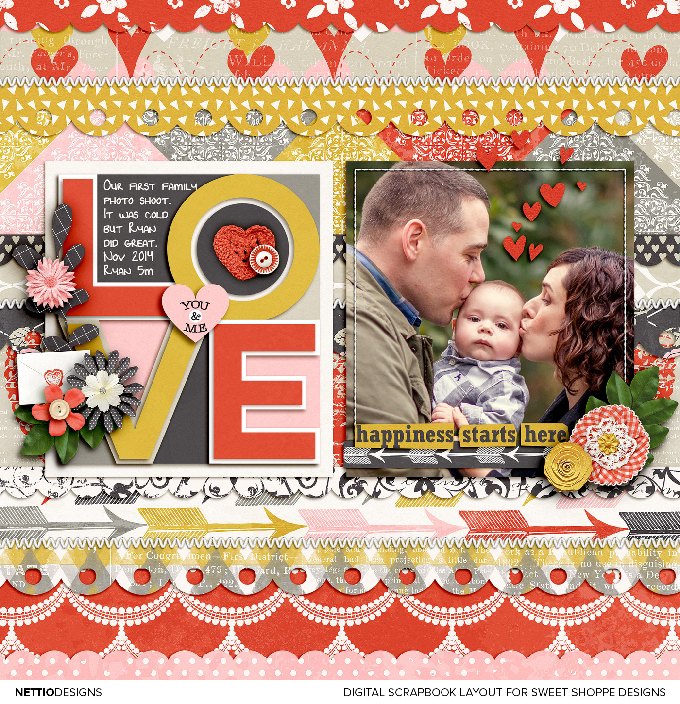 Digital Scrapbooking Layout by NettioDesigns | Scrapbook Saturday 02 Scaling Down a Template